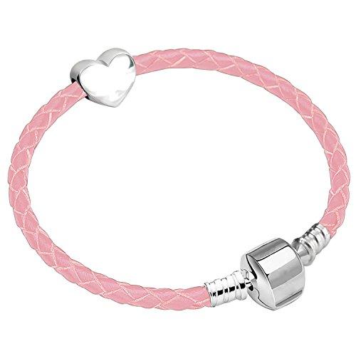 Charm Buddy Filles 17cm Cuir Rose Bracelet à Breloques de démarrage avec cœur Argenté et boîte Cadeau Âge 7–12Ans