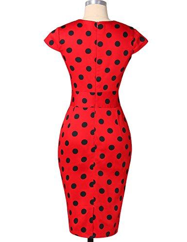 50er Jahre Kleid Vntage & Rockabilly Stil knielang kurzarm Polka Dot Kleid ~ rot - 2