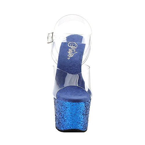 Pleaser Flamingo-801 Damen Plateau Clr/Blue Glitter