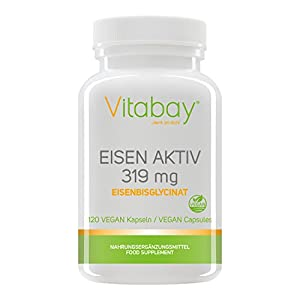 Eisen Aktiv aus Eisenbisglycinat 319 mg – 120 Vegi Kapseln – Extra hochdosiert & hoch verfügbar