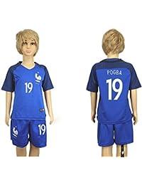Maillot de football de l'équipe de France pour enfant Paul Pogba 19 Bleu