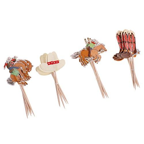 Blesiya 24pcs Kuchen Topper Cake Topper Kuchendekoration für Kindergeburtstag Abschlussfeier Hochzeit, Verschiedene Muster - Cowboy, 24 Stück