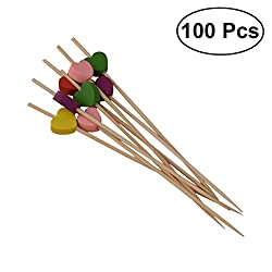 TOYMYTOY 100pcs Heart Cocktail Sticks Bamboo Fruit Picks Disposable Food Appetizer Toothpicks