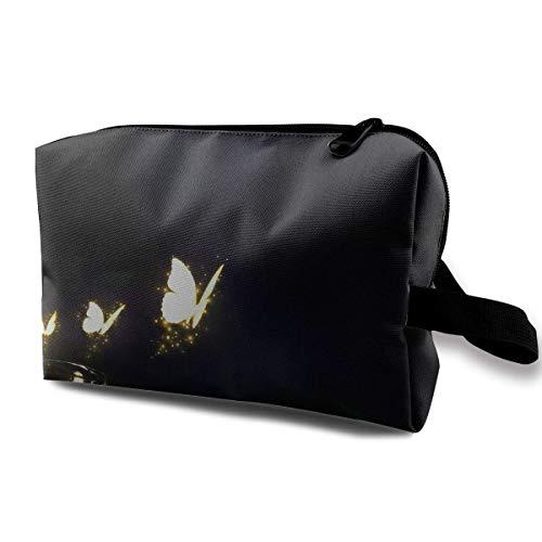 Reise-hängende Kosmetiktaschen Glowing Butterflies Mason Jar Multi-Functional Toiletry Makeup Organizer Black Makeup Bag
