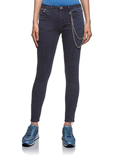 oodji Ultra Damen Skinny Jeans mit Reißverschlüssen am Hosenbein, Blau, 30W / 32L (DE42 = EU44 = XL) -