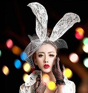 Yiyo Frauen sexy spitze Bunny Ohren Gaze Schleier Haar Schleier Halloween Weihnachten Maske für rätselhafte Maskerade Mardi Gras Party Cosplay - Stirnband mit langen weißen Kaninchenohren