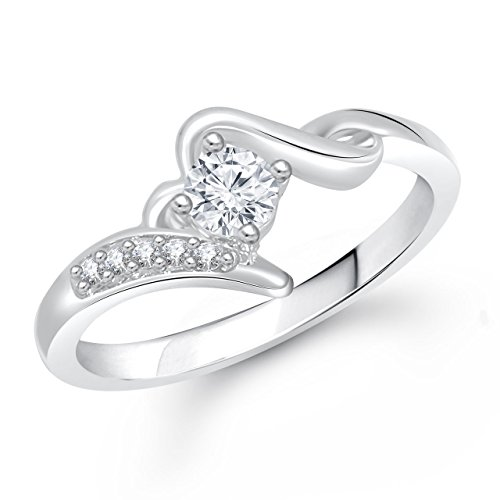 Meenaz Solitaire Rings Valentine Love Silver Ring For Girls & Women In American Diamond Cz Fr292