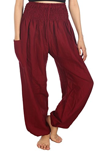 Lofbaz Mujer Pantalones Harem Boho de Cintura alforzada Solid Borgoña M