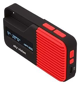 Sky Vision Radio Digitale DAB 13R 13R–Piccolo portatile, mini Digital Radio, Outdoor, DAB +, FM/FM Tuner, funzione di carica usb, Rosso