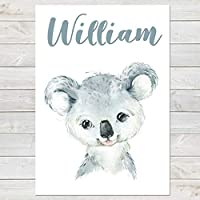 Baby Koala, Cute Personalised Animal Print for Kids, A4 or A3