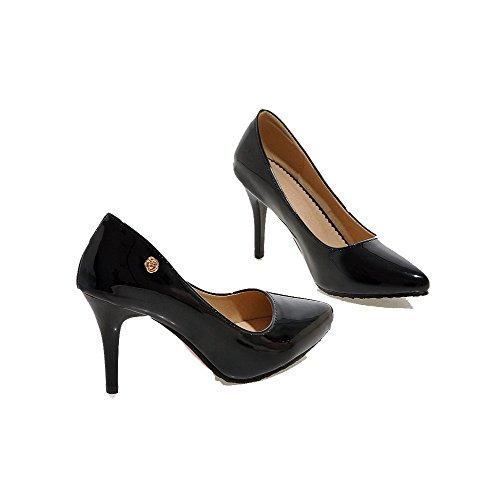 VogueZone009 Femme Pu Cuir à Talon Haut Pointu Couleur Unie Tire Chaussures Légeres Noir
