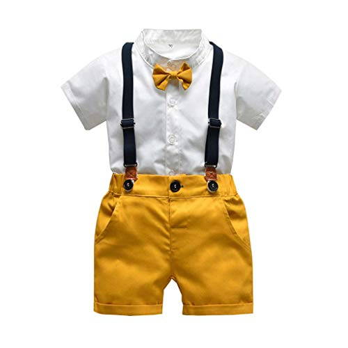 JERFER Neugeborenen Set Infant Boys Gentleman Bow Tie T-Shirt Tops+Solid Shorts Overalls Outfits Boys Bow Tie