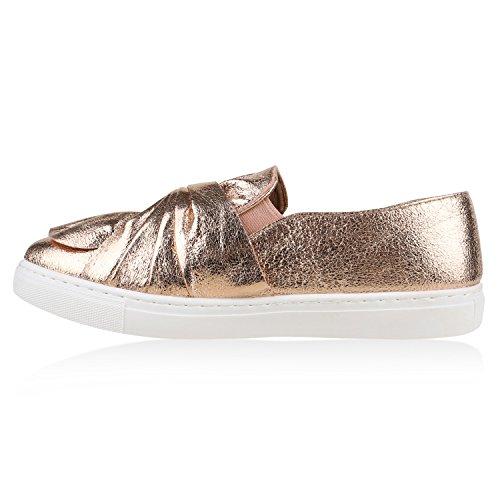 Damen Sneakers Slipons Schleifen Metallic Slipper Freizeit Schuhe Rose Gold