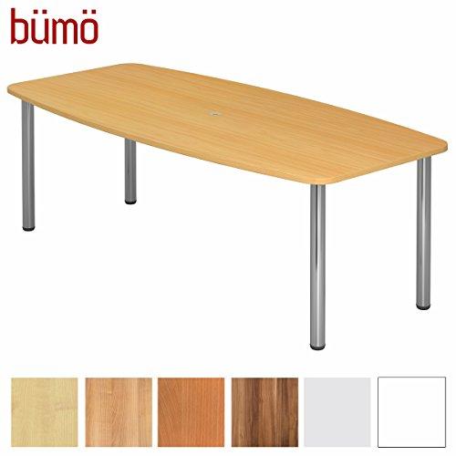 BÜMÖ Konferenztisch rund oval 220 x 103 cm in Buche | Besprechungstisch mit Chromfüße | Hochwertiger Meetingtisch