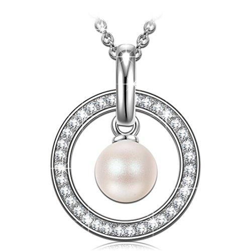 PRINCESS NINA 925 Sterling Silber Damen Kette 5A Zirkonia mit weißer Perle von Swarovski Halskette Weihnachtsgeschenke Schmuck Geschenke zum Geburtstag Jubiläum Mutter Tochter Mädchen FrauenSie
