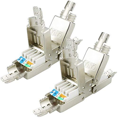 AIXONTEC Cat.6A 2 Stück LAN Netzwerk Verbindungsmodul Koppler LSA Adapter für Cat.7 LAN Ethernet Kabel geschirmt Netzwerk Verbinder mit metallischer Kabelverschraubung geeignet für CAT 6 cat. 6a - 5e Keystone-koppler
