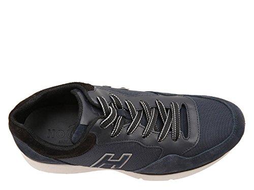 Baskets Hogan homme en cuir et tissu bleu foncé - Code modèle: HXM2540S4209BF523J Bleu foncé