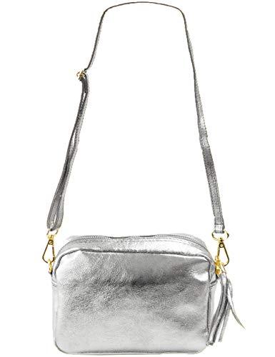 Silber Runde Handtasche (Freyday Echtleder Umhängetasche Clutch kleine Tasche Abendtasche 20x15cm (Silber))