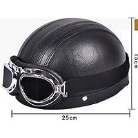 CrewPros (TM)-Mezza custodia in pelle, stile Vintage, per ciclismo Open Face Casco moto & Casco per adulti - Pelle Open Face