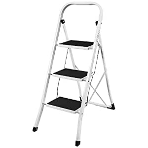 Home Discount 3 Step Ladder, Heavy Duty Steel, Folding, Portable With Anti-Slip Mat