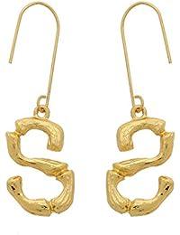 Vendita di San Valentino WUWEIWEI12 – Lettera orecchini moda lega placcata  oro con pendente a goccia oro Bamboo iniziale orecchini… ebc1c80ea6f5