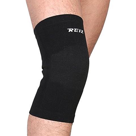 mumian elastico Sport gamba ginocchio supporto Brace Wrap Protector Ginocchiere manica Cap rotula Guardia Pallavolo ginocchio nero rosso–1, Black, M