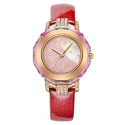 W-WATCH Damen Armbanduhr, Quarz Analog Uhren Lederarmband Aus Kalbsleder Wasserdicht Strass Schale Frauen Frauenuhren (Color : Red) -