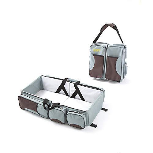 3 in 1 Wickeltaschen für Babys, Multifunktional tragbar Baby-Reisebett Krippe Wickeltasche Faltbar Tragetasche für 0-12 Monate (Grau)