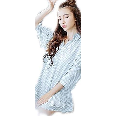 Cotone manica corta Dormire gonna signore pigiami svegli Lattice maniche