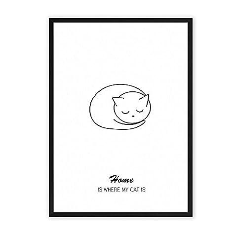 Home is where my Cat is - einzigartiger Kunstdruck mit Spruch auf wunderbarem Hahnemühle Papier DIN A4 (optional A3 und A2) -ohne Rahmen- schwarz-weiß - Typografie Wandbild Fine-Art-Print Dekoration Geschenk Geschenkidee Muttertag Bild Poster Plakat Home Deko shabby chic vintage retro Zuhause Katze