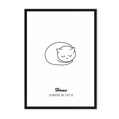 home-is-where-my-cat-is-einzigartiger-kunstdruck-mit-spruch-auf-wunderbarem-hahnemuhle-papier-din-a4