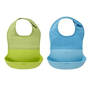 OXO Tot Silicone Roll Up Bib with Comfort-Fit Fabric Neck, 2 Piece, Aqua/Green