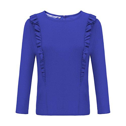 Elegant Hemden Damen Rundhals Einfarbig Langarm Chiffon Rüschen Shirt Zurück Zipper Blau