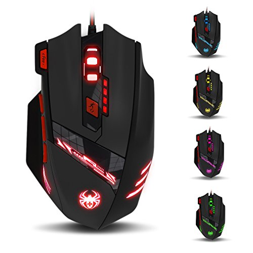 Zelotes T90 Ratón Gaming 1000 a 9200 dpi, 8 Botones y 6 dpi Ajustables, 6 LED Colores Cambiantes, Ajuste de Peso para Windows Mac Macbook Linux - Negro