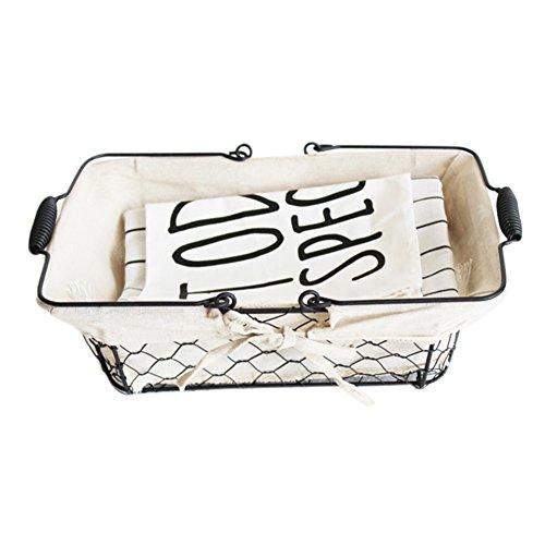 rechteckiges Metall Eisenkorb mit Doppelklappgriffe Schrank Ablagekorb Mülleimer mit Canvas Futter Multifunktions Küche Organizer Container (Canvas-futter)