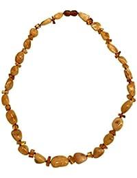 Maldija Collar de ámbar Natural con Chips de ámbar Transparente DE 48,26 cm, Peso 15,70 Gramos
