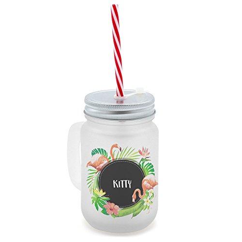 printplanet Trinkglas mit Henkel und Strohhalm - bedruckt mit Namen Kitty Layout Tropisch - Henkel-Glas satiniert mit Deckel und Mehrweg-Trinkhalm -