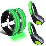 HEAWAA 2 Stück LED socken und 2 Stück LED Schuh Clip, Hell Leuchtendes Reflective Nacht Sicherheits Licht für Laufen Joggen Running Outdoor Sports (Grün)