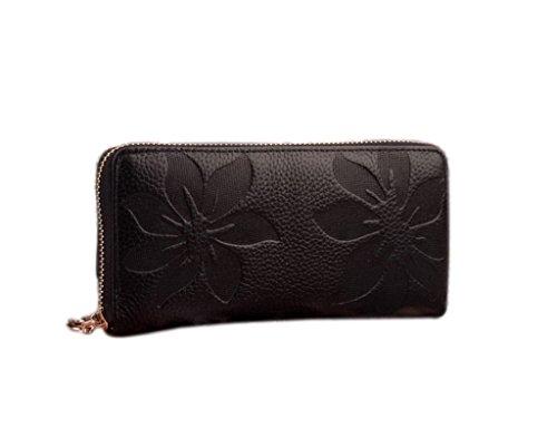 Y-BOA - Portefeuille/ Porte-monnaie Vintage–Noir –Femme –Sac à main– Cuir PU– Pochette Soirée