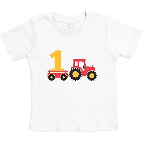 1 Jahr Geburtstag Junge Geschenk Traktor Bagger Unisex Baby T-Shirt Gr. 66-93 18-24 Monate / 93 Weiß