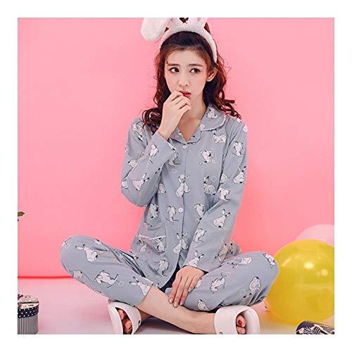 HAOLIEQUAN Frühling Herbst Langärmelige Baumwolle Frauen Pyjamas Set Kaninchen Erdbeere Cartoon Nachtwäsche Mädchen Pyjamas Casual Hause Kleidung, XXXL