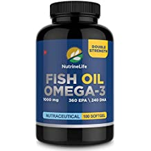 NutrineLife Fish Oil Omega 3 Capsules for Men and Women - 1000mg Double Strength with EPA and DHA - 100 Softgels(Pack of 1)