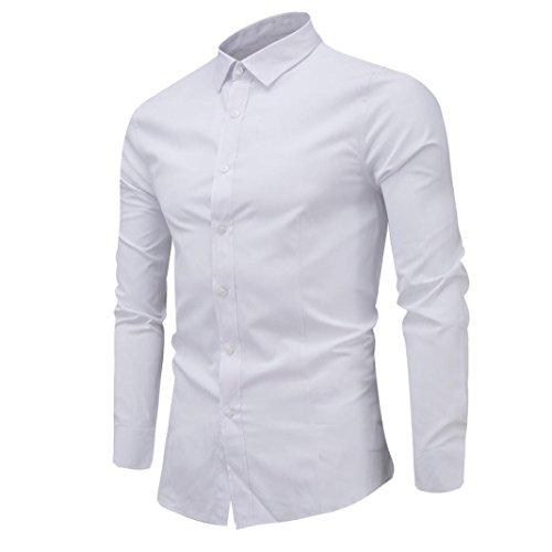 VEMOW Herbst Frühling Business Männer Hem Mode Dünnes Hemd Langarm Casual Täglichen Party Formale Shirt(Weiß, 52 DE / 3XL CN)