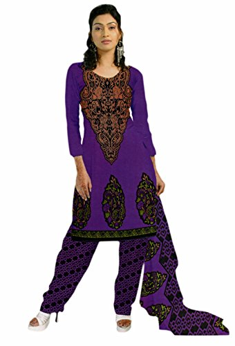 Araham Printed Purple SoftCrepe/ American Crepe Dress Material/ Unstitched Salwar Suit