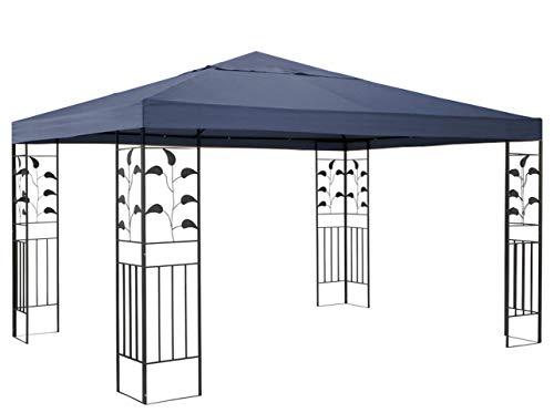 QUICK STAR Garten Blätter Pavillon 3x3m Grau Partyzelt Metall Carport