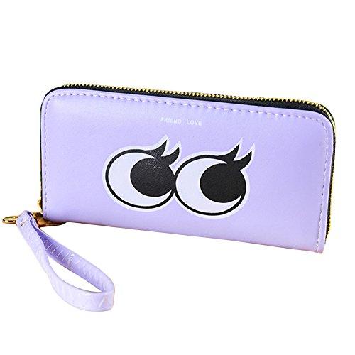 Latte Auge (Hrph Neue Frauen-Karikatur-große Augen-Mappen-Leder-Telefon-Handtaschen -Dame-Kupplungs-gestreifte Reißverschluss-Münzen-Taschen-Karten-Halter)