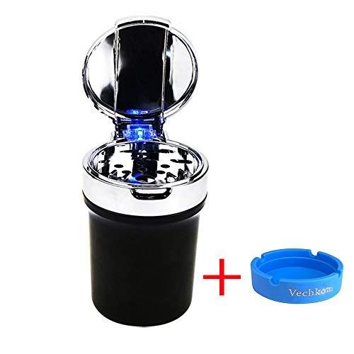 Auto Zigarette Aschenbecher Aktualisierte Version Auto Getränkehalter mit Blaulicht rauchfrei selbstlöschend - Auto Aschenbecher Getränkehalter