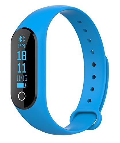 YANGYA IP67 wasserdicht Fitness-Armband, Aktivität Tracker mit Schrittzähler Schlaf-Monitor, kompatibel mit Android IOS Telefon Kinder Frauen Männer-Blue
