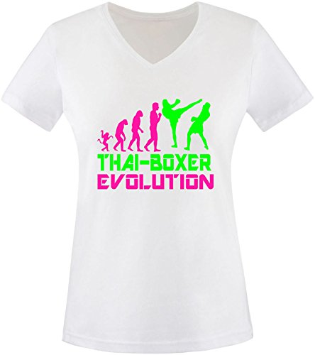 EZYshirt® Thai Boxing Evolution Damen V-Neck T-Shirt Weiss/Pink/