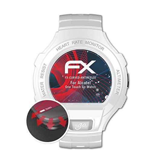 atFoliX Schutzfolie passend für Alcatel One Touch Go Watch Folie, entspiegelnde & Flexible FX Bildschirmschutzfolie (3X)
